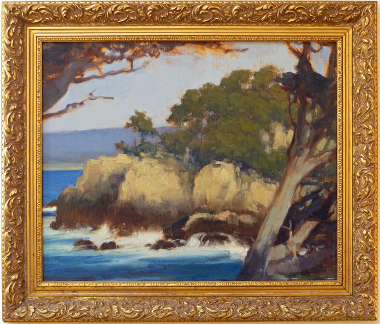 This oil on board is by the well-known California plein air artist Brian Blood (1962-).  The painting depicts Point Lobos, just south of Monterey Bay. It measures 12 inches x 15 inches (16.5 inches x 19.5 inches framed.) The painting is composed of
