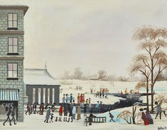 White Winter Landscape painting with figures, architecture & dog 'In the Snow'