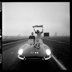 E-Type Jaguar on Newly Opened M1 Motorway