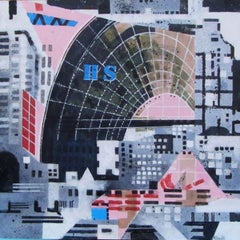 City H S - contemporary London city urban landscape acrylic painting