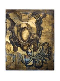 """""""Obturator Fascia"""" Warm Sepia Tones, Oil, Abstract"""