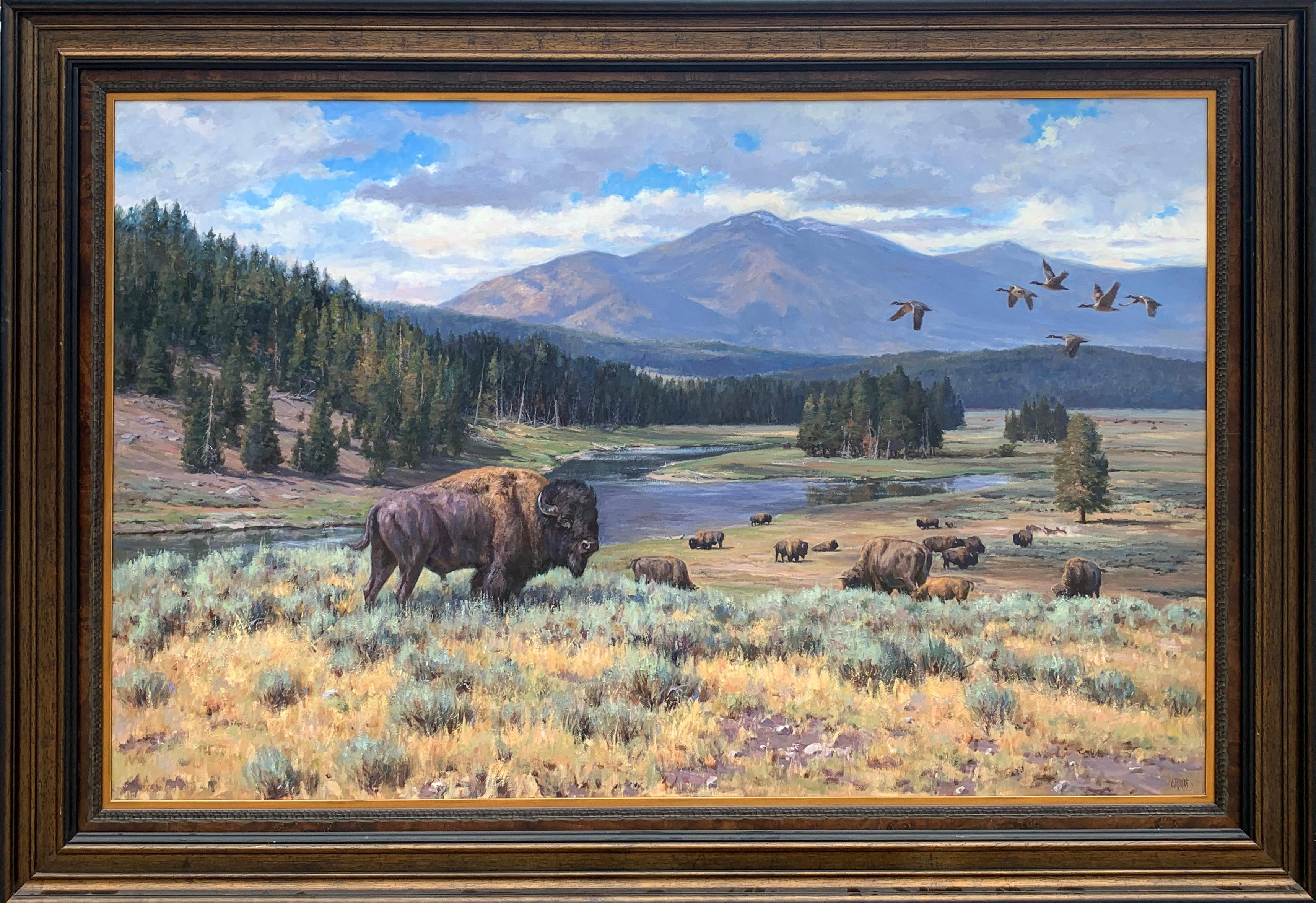 """""""Heart of Yellowstone"""", Brian Grimm, Oil on Canvas, 48x72 in., Western Landscape"""