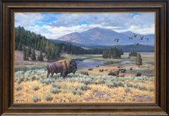 """Heart of Yellowstone"", Brian Grimm, Oil on Canvas, 48x72 in., Western Landscape"