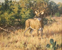 """King of the Wild"", Brian Grimm, Oil/Canvas, 24x30 in, Deer, Western Landscape"