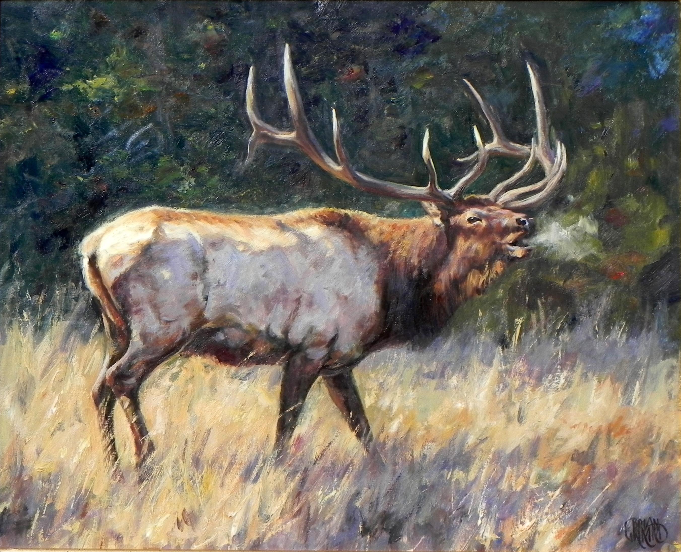 """September Calls"", Brian Grimm, Oil/Canvas, 20x24 in, Moose, Western Landscape"