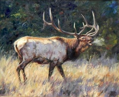 """September Calls"", Brian Grimm, Oil/Canvas, 20x24 in, Moose, Western Landscape"