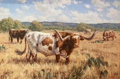 """Texas Twist"", Brian Grimm, Oil/Canvas, 24x36 in, Long Horn, Western Landscape"