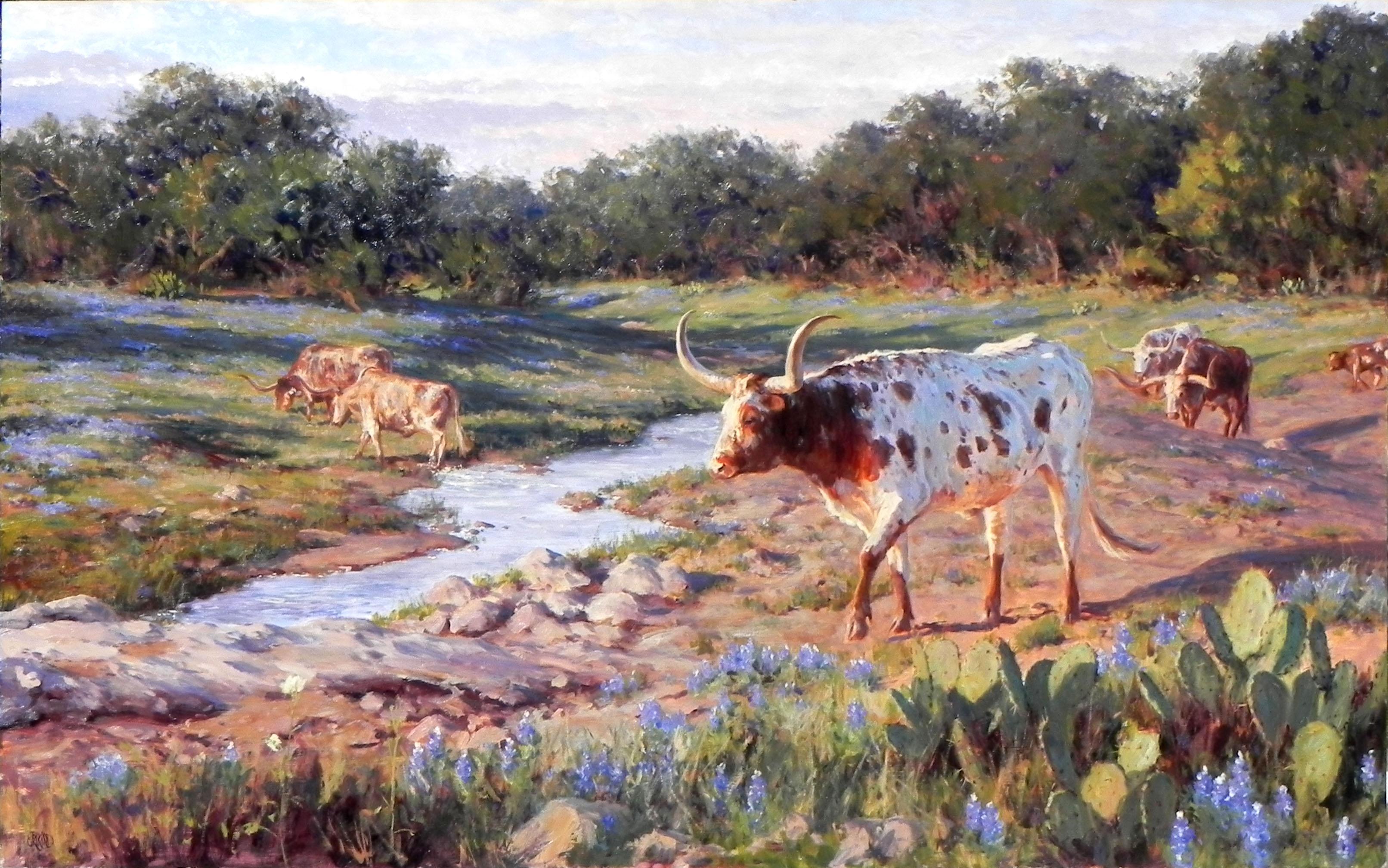 """The Scenic Route"", Brian Grimm, Oil/Canvas, 44x72, Longhorn, Western Landscape"