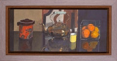 Scottish 20th Century oil painting by Brian Kenny of teapot, oranges and lemons