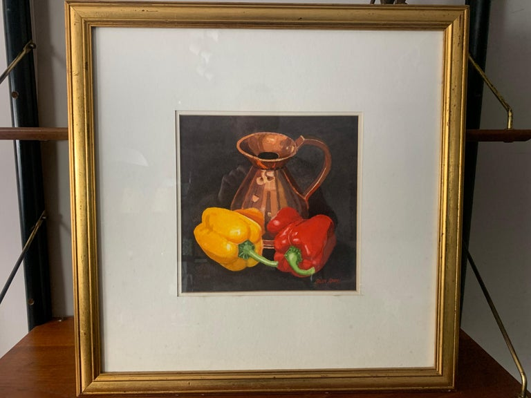 Still-life watercolor titled 'Peppers' by Brian Keany, (1945-2007). Painted in August 1996 and signed. The watercolor was bought from Gallery 41, 41 Dundas Street, Edinburgh, EH3 6QQ. The gallery label is still present on the back of the picture.