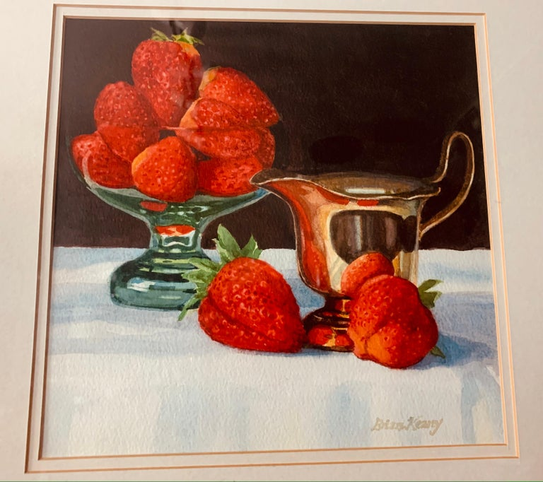 Still-life watercolour titled 'Strawberries' by Brian Keany (1945-2007). Painted in August 1996 and signed. The watercolour was bought from Gallery 41, 41 Dundas Street, Edinburgh, EH3 6QQ. The label is still present on the back of the