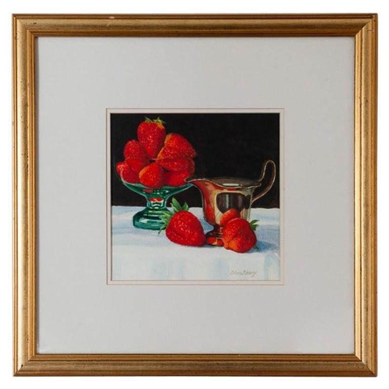 "Brian Keany Scottish Artist (1945-2007) ""Strawberries"" Still-Life Watercolour For Sale"