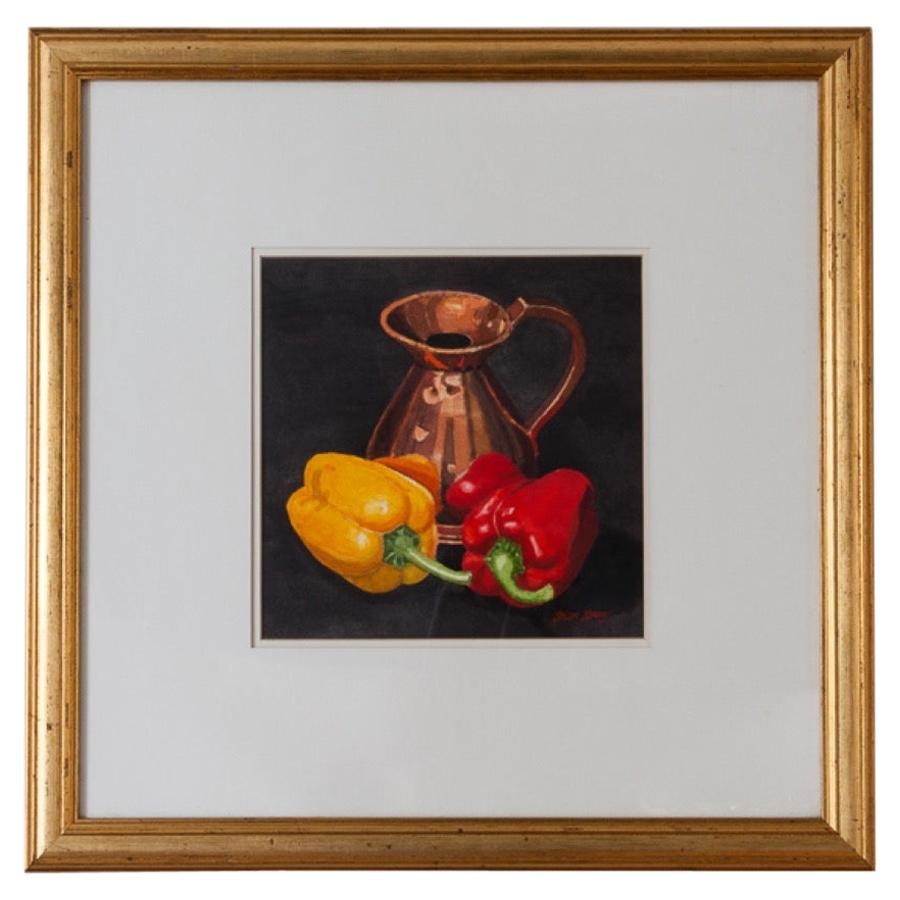 "Brian Keany Scottish Artist ""Peppers"" Still-Life Watercolor"