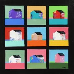9 Houses, Painting, Acrylic on Wood Panel
