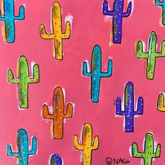 Cactus - pink, Painting, Acrylic on Canvas