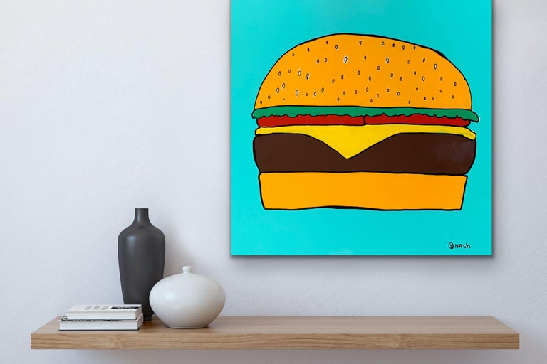 Cheeseburger in Paradise, Painting, Oil on Canvas For Sale 1