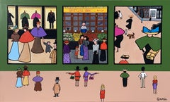 Felix VallottonΓÇÖs Shoppers, Painting, Acrylic on Canvas
