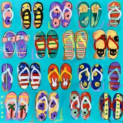 Flip flops, Painting, Acrylic on Canvas