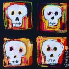 Four skulls, Painting, Acrylic on Canvas