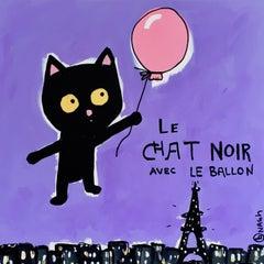 Le Chat Noir Avec le Ballon, Painting, Acrylic on Canvas