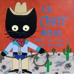 Le chat noir, cowboy, Painting, Acrylic on Canvas