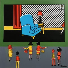 Lichtenstein's Blue Chair Museum, Painting, Acrylic on Canvas