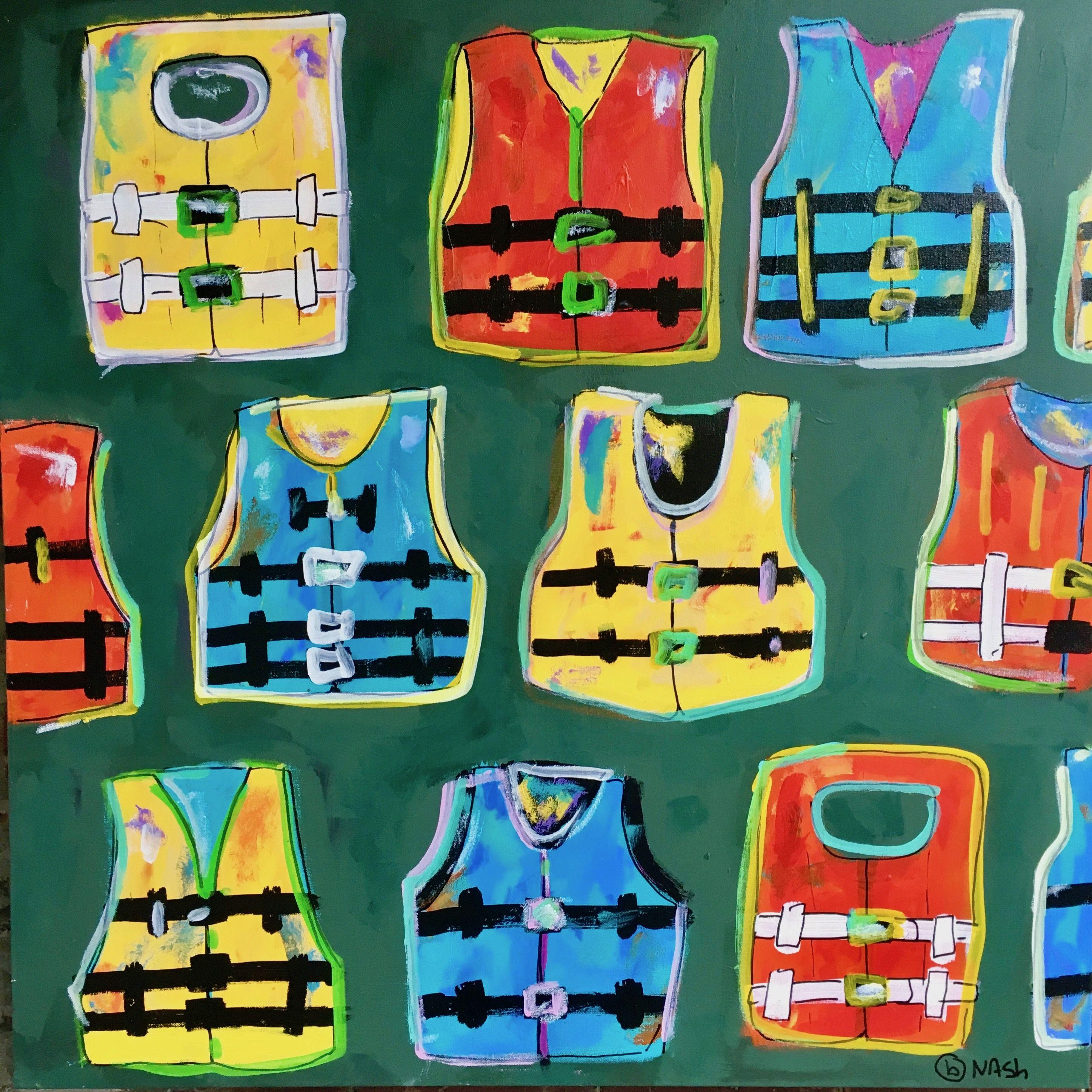 Life Jackets, Painting, Acrylic on Canvas