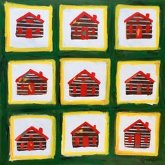 Log Cabins, Painting, Acrylic on Canvas