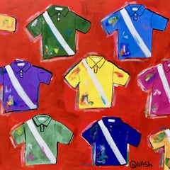 Polo Shirts -- on red, Painting, Acrylic on Canvas