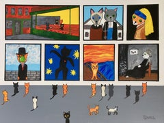 The cat museum, Painting, Acrylic on Canvas