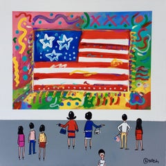 The Peter Max Flag Museum, Painting, Acrylic on Canvas