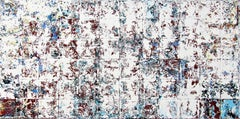 Catharsis - contemporary white and blue abstract oil painting on canvas