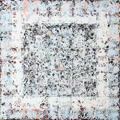 Enigma - contemporary white abstract oil painting on canvas
