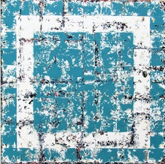 Glimpse - contemporary turquoise white abstract geometric oil painting on canvas