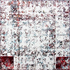 Incognito - contemporary abstract geometric white oil painting on canvas