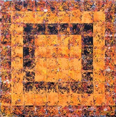 Karma - abstract contemporary geometric orange square oil on canvas