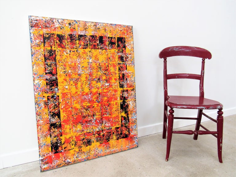 Oil on Canvas: 'Defiance' - Orange Abstract Painting by Brian Neish