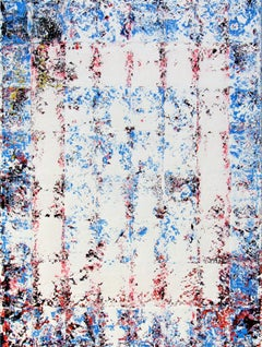 Oracle - abstract geometric textured surface blue white paintings canvas