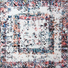Secret - contemporary abstract white multicolor geometric oil painting on canvas