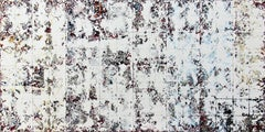White Squares - contemporary white geometric abstract textured oil painting
