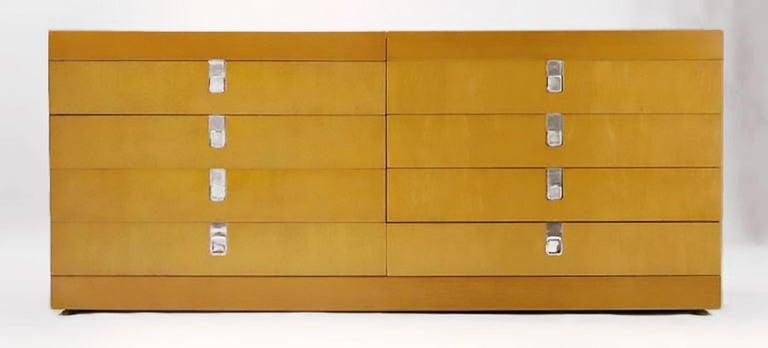 American Brian Palmer for Baker Birdseye Maple Modular Three-Piece Cabinet For Sale