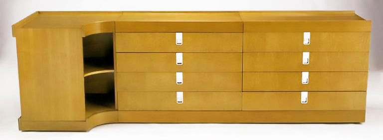 Brian Palmer for Baker Birdseye Maple Modular Three-Piece Cabinet In Good Condition For Sale In Chicago, IL