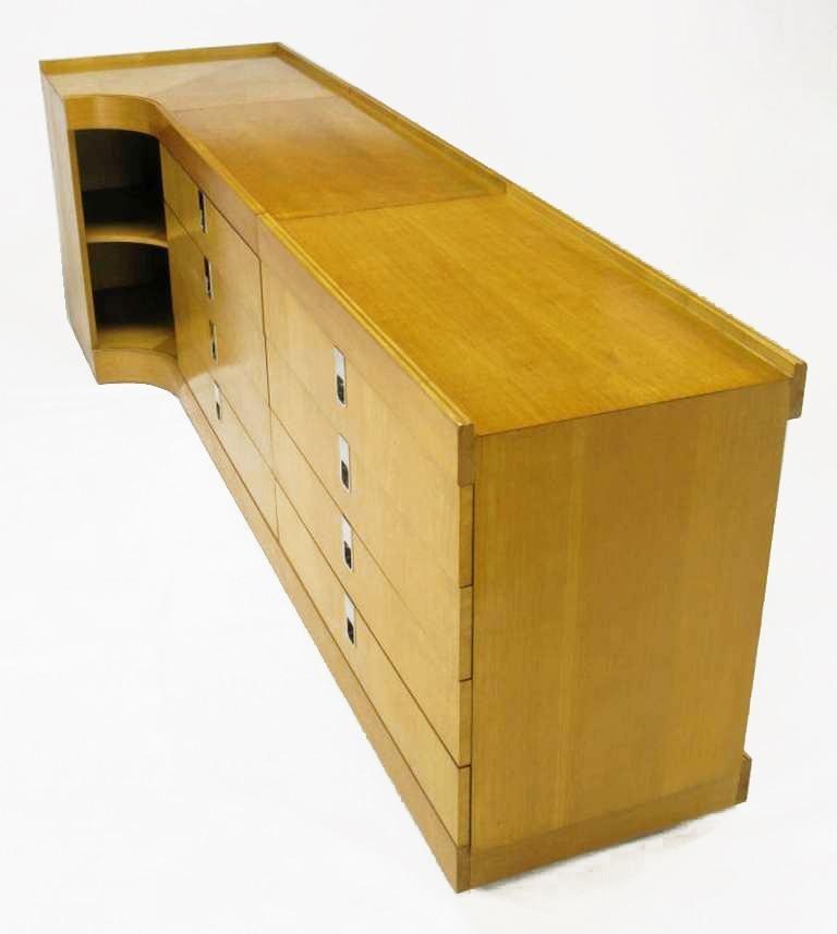 Late 20th Century Brian Palmer for Baker Birdseye Maple Modular Three-Piece Cabinet For Sale