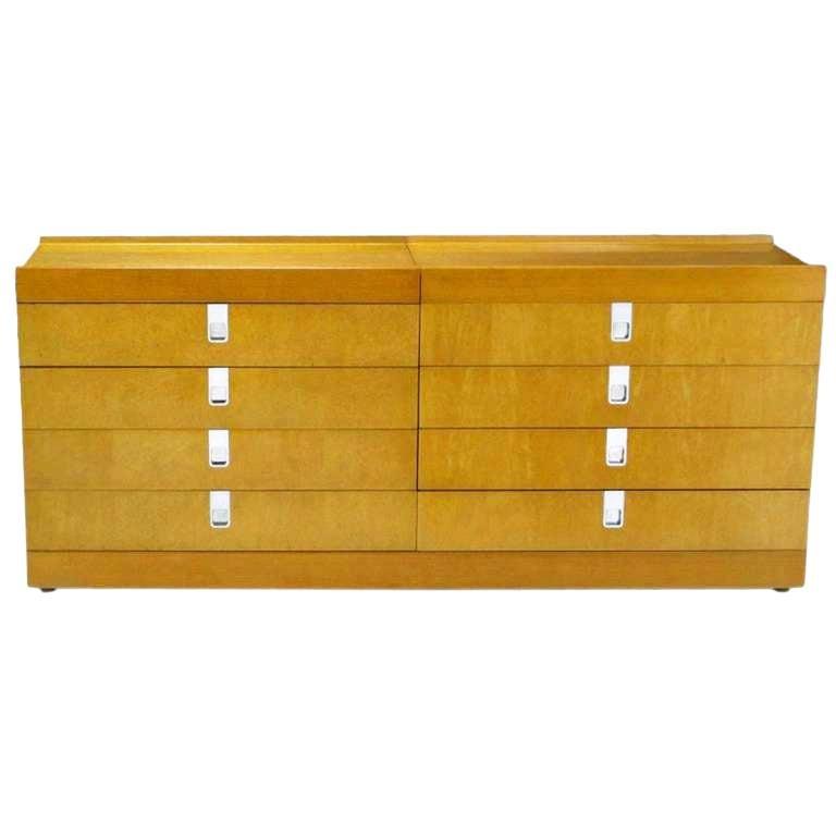 Brian Palmer for Baker Birdseye Maple Modular Three-Piece Cabinet For Sale