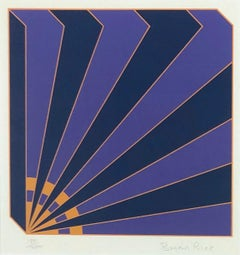 Geometric Illusion: signed, framed abstract modern print in purple and blue