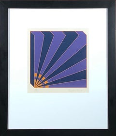 Geometric Illusion - signed, framed print, purple and blue geometric abstraction