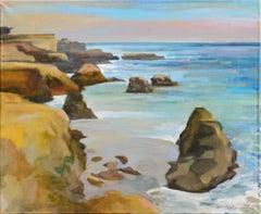 """Rocks at West Cliff"" Santa Cruz, California Plein Air Landscape by Brian Rounds"