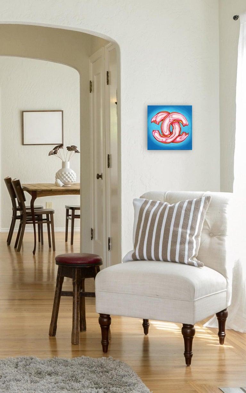 Bleu Chanel Glaze II - Pop Art Donut Painting - Blue Still-Life Painting by Brian Smith