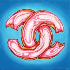 Bleu Chanel Glaze II - Pop Art Donut Painting