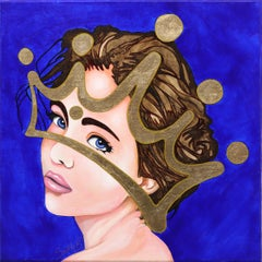 Deluxe - Contemporary Gold Leaf Crown Portrait Painting